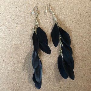 Black Feathered Earrings